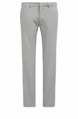 Pantalon Slim Fit en twill stretch orné de surpiqûres , Gris chiné