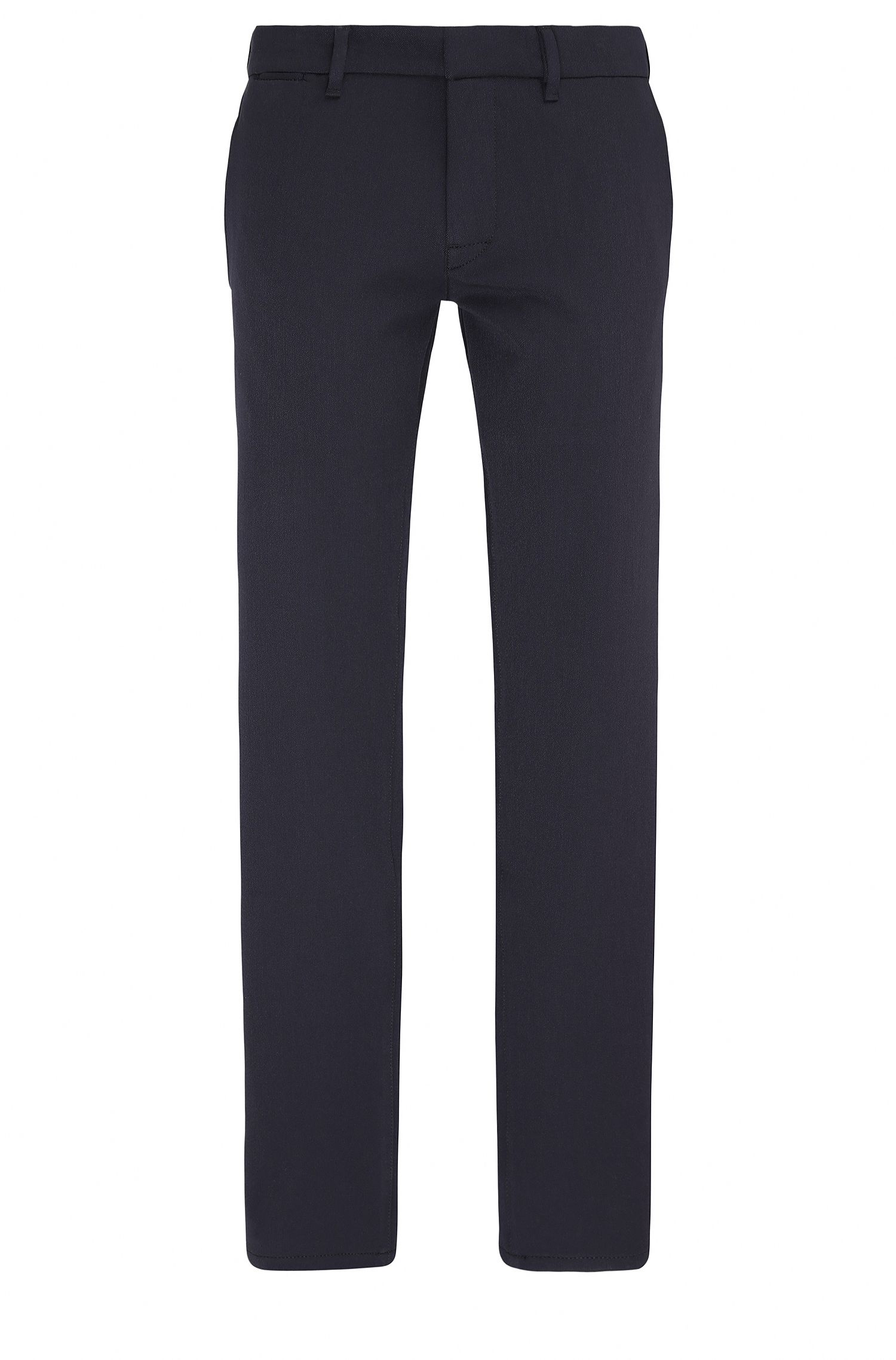 Slim-fit stretch-twill trousers with stitching detail