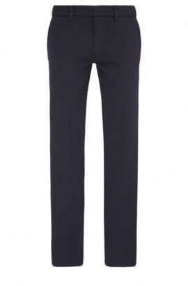 Pantaloni slim fit in twill elasticizzato con impunture, Blu scuro