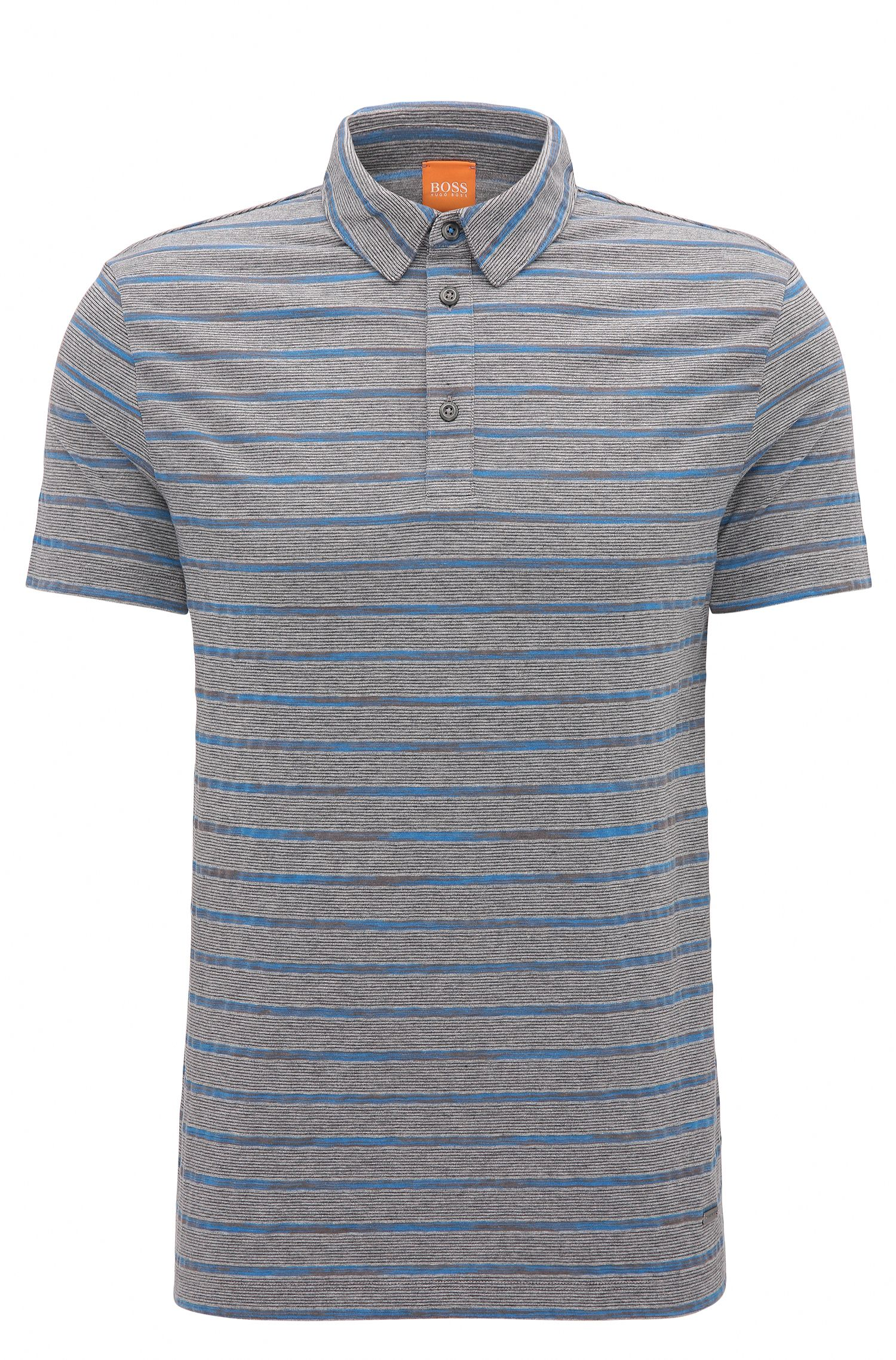 Regular-fit cotton polo shirt with stripes