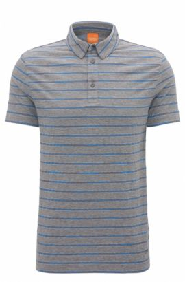 Polo Regular Fit en coton à motif rayé, Gris chiné