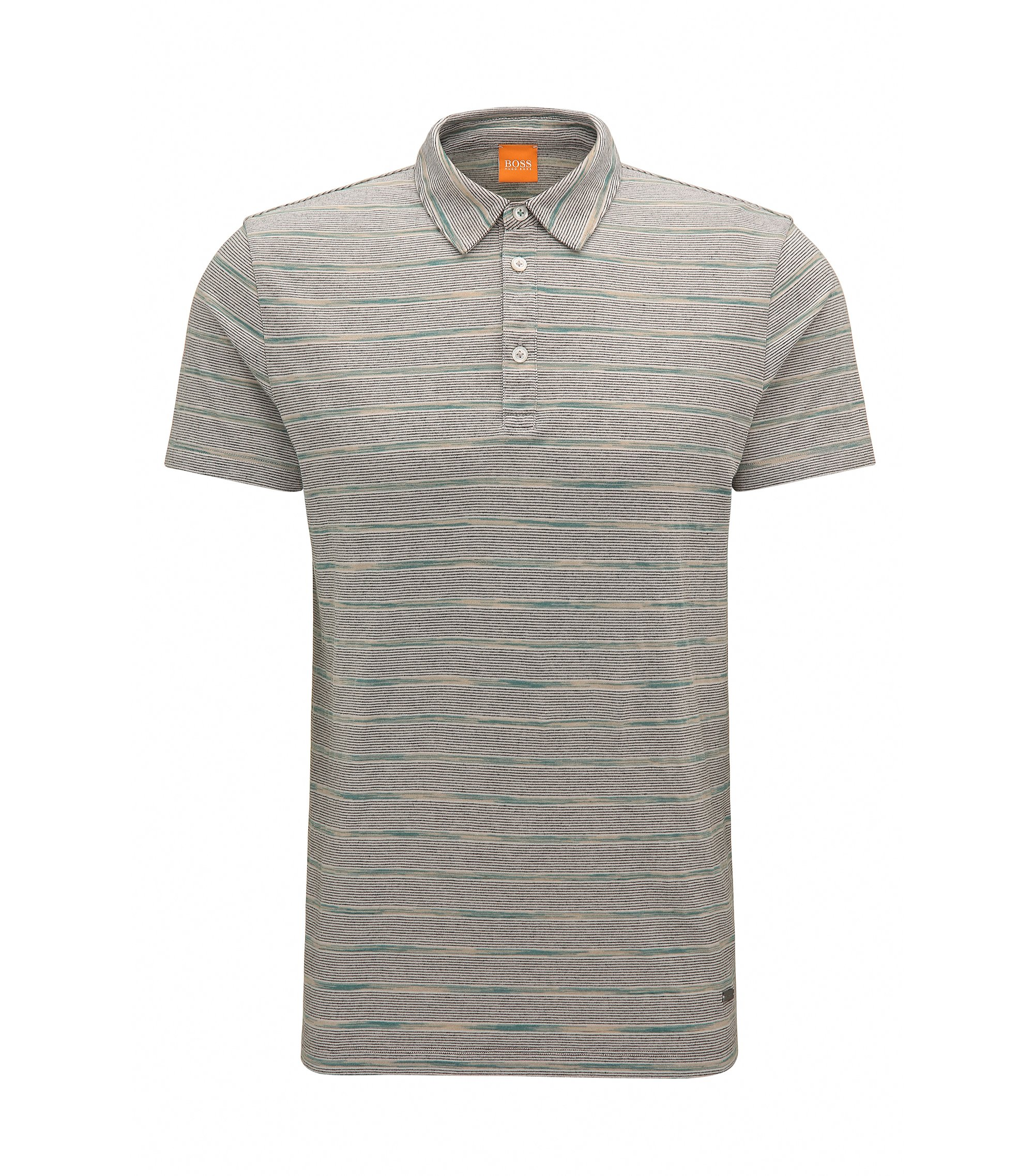 Polo Regular Fit en coton à motif rayé, Gris