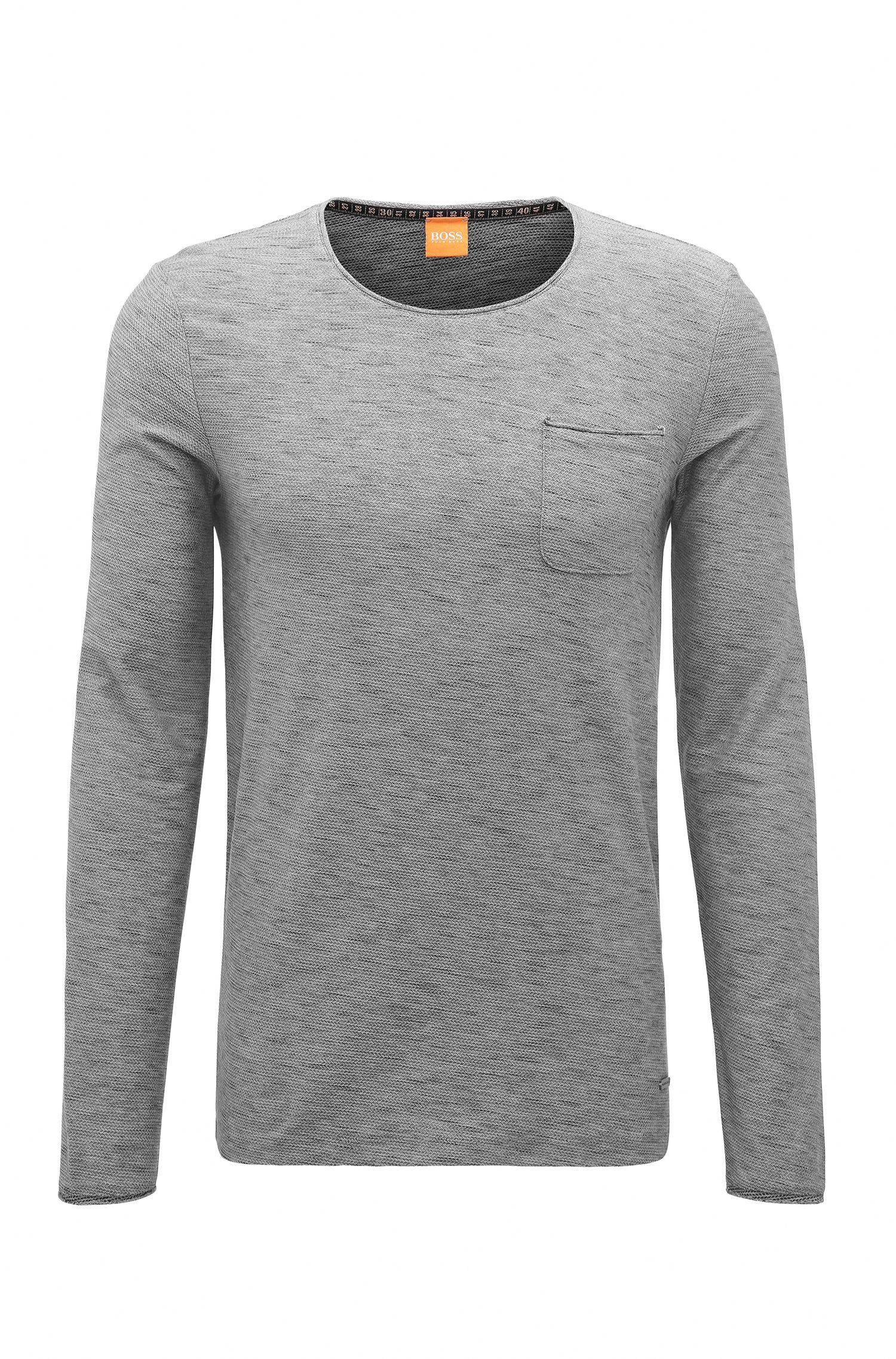 T-shirt à manches longues Regular Fit en coton, avec détails à bords francs