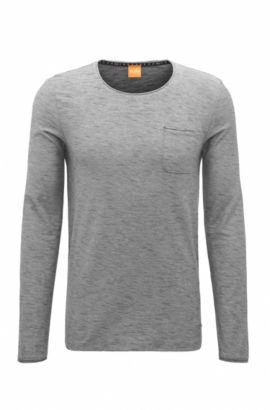 T-shirt à manches longues Regular Fit en coton, avec détails à bords francs, Gris chiné