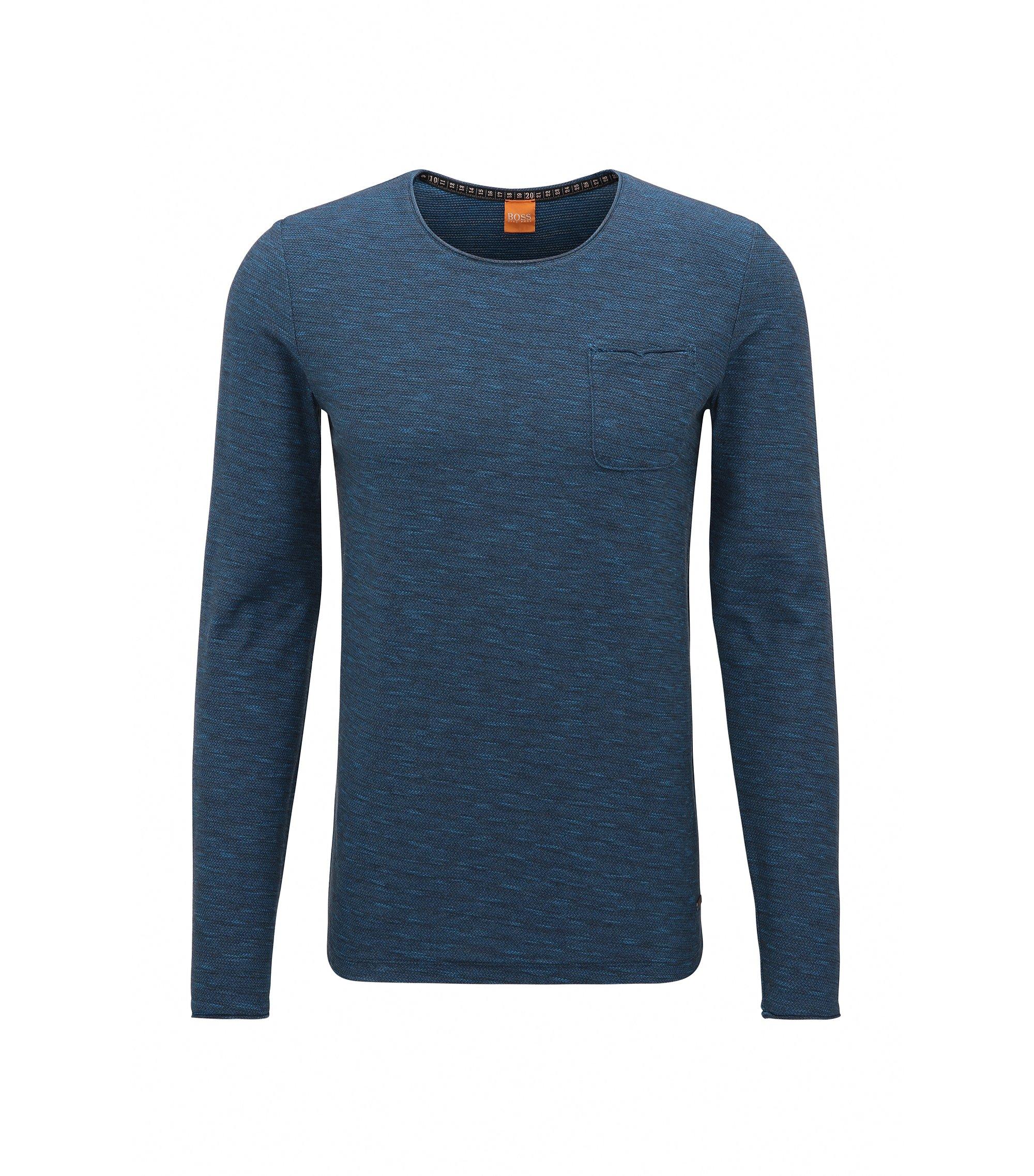 T-shirt à manches longues Regular Fit en coton, avec détails à bords francs, Bleu foncé