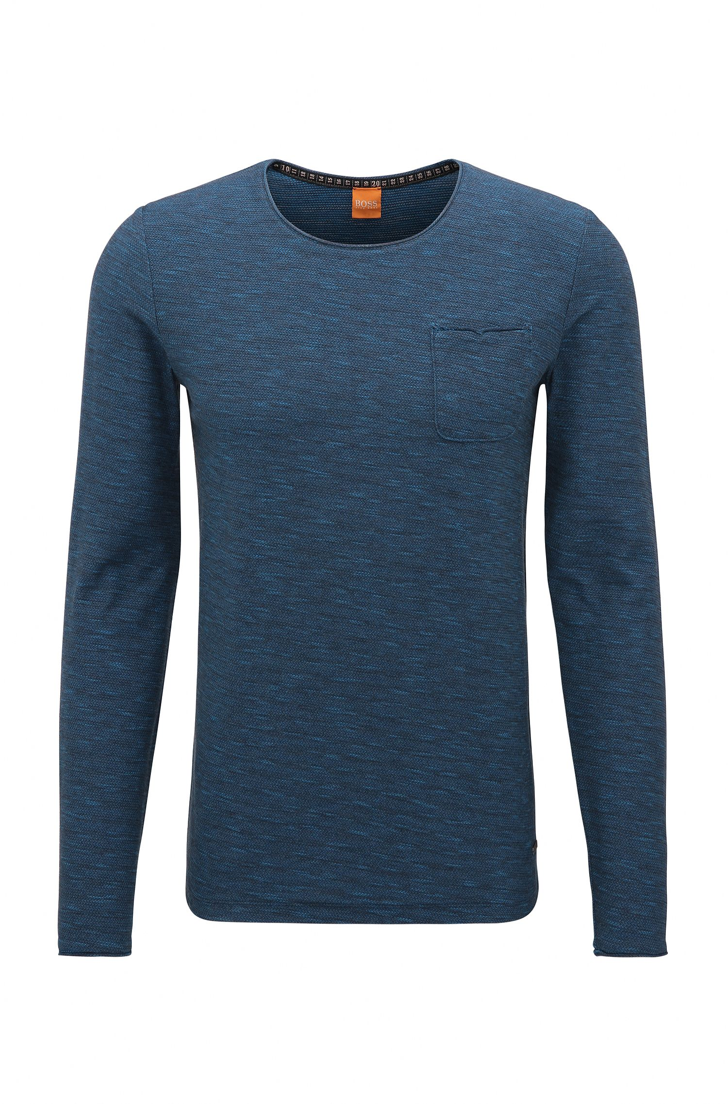 Regular-fit long-sleeved cotton T-shirt with raw-cut details