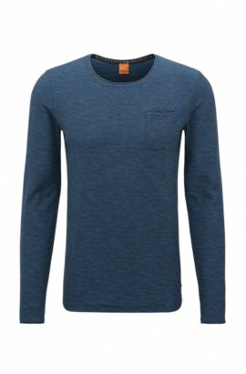 Regular-fit long-sleeved cotton T-shirt with raw-cut details, Dark Blue