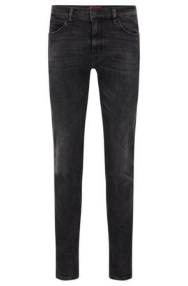 Jeans Slim Fit à effet stone-washed, Gris sombre