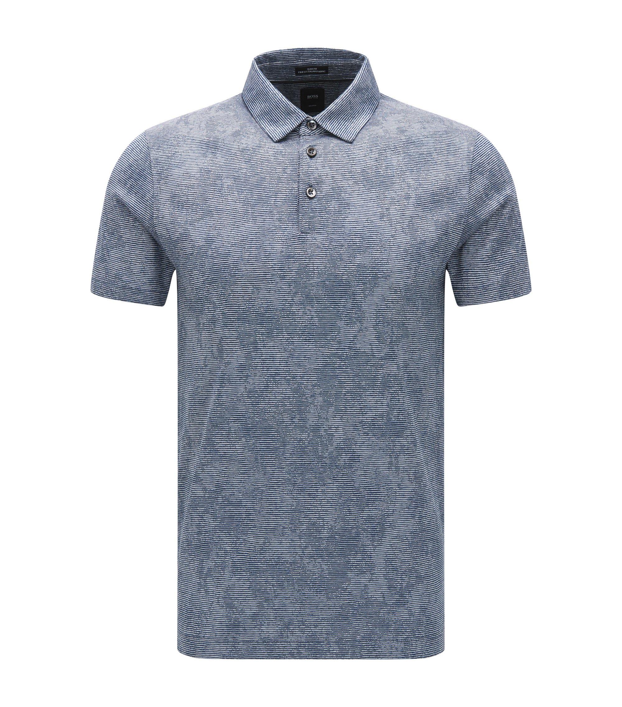 Polo Slim Fit en coton au motif jacquard, Bleu foncé