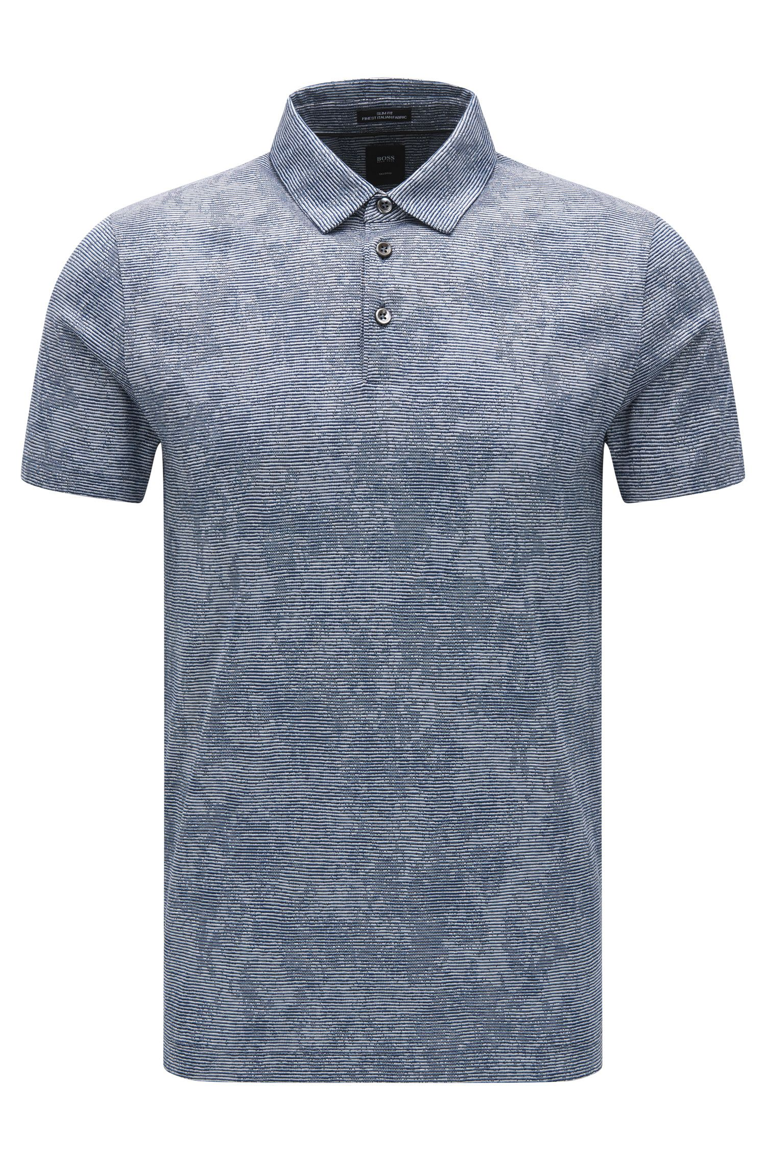 Slim-fit cotton polo shirt with knitted jacquard pattern