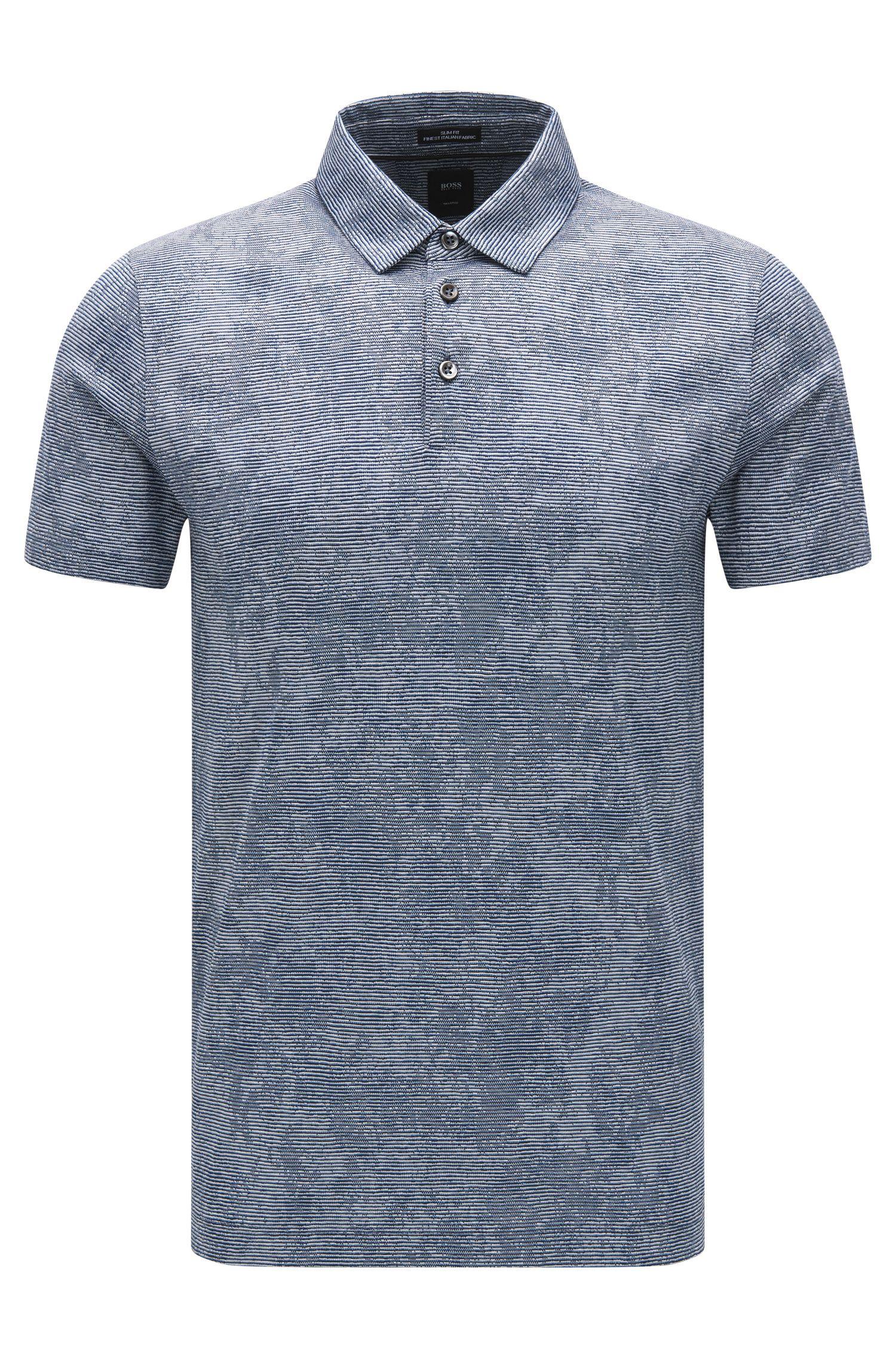 Polo Slim Fit en coton au motif jacquard