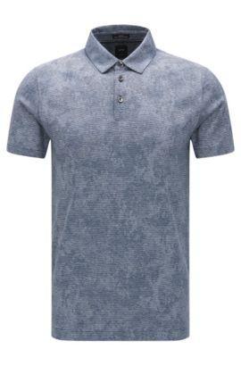 Slim-Fit Poloshirt aus Baumwolle mit Jacquard-Muster, Dunkelblau