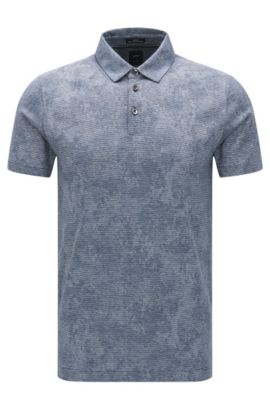 Slim-fit cotton polo shirt with knitted jacquard pattern, Dark Blue