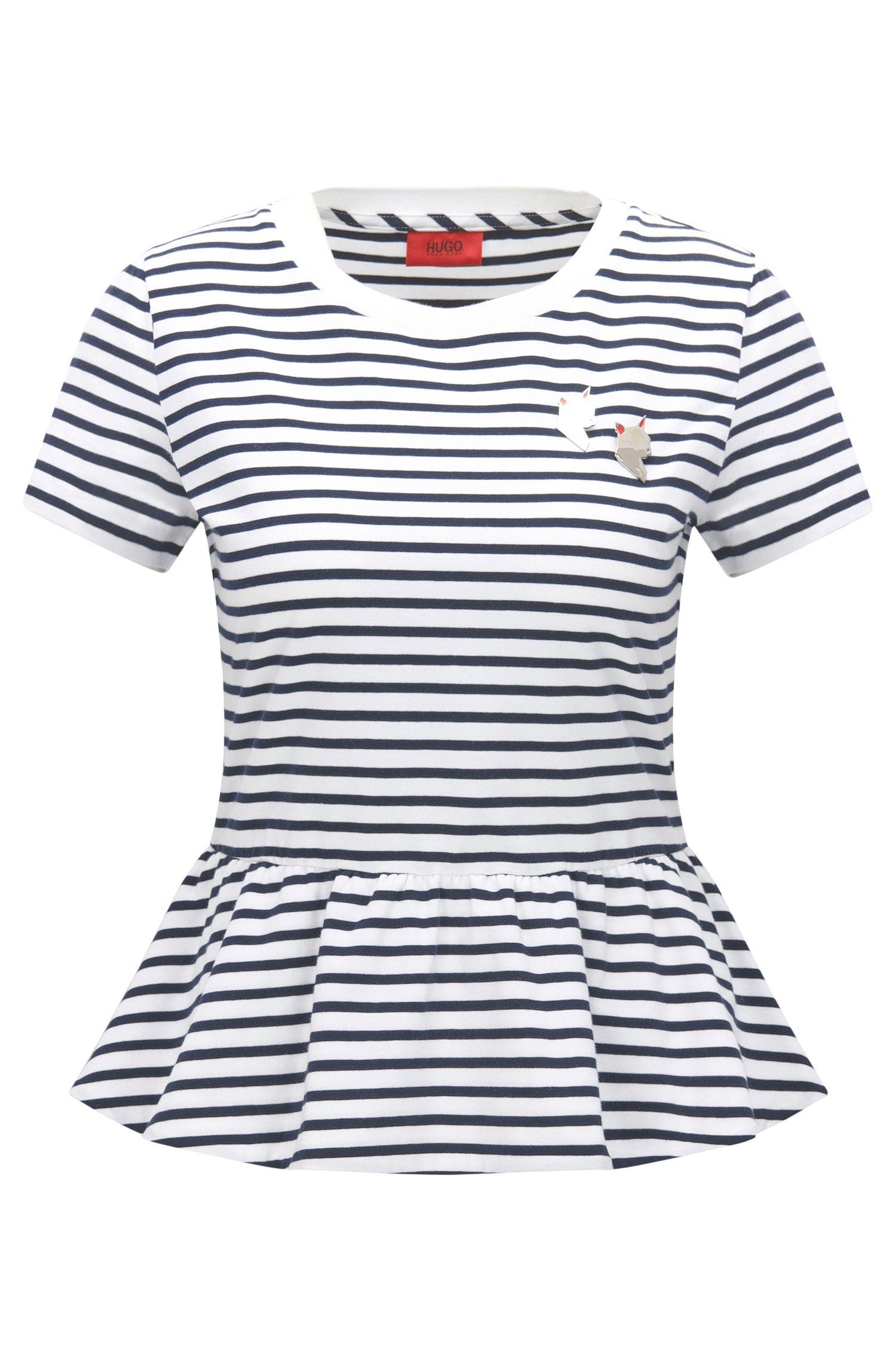 T-shirt Slim Fit en coton à basque