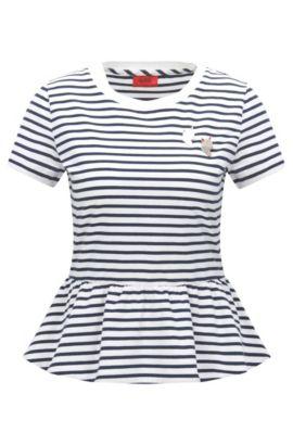Slim-Fit T-Shirt aus Baumwolle mit Schößchen, Gemustert