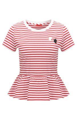 Slim-Fit T-Shirt aus elastischer Baumwolle mit Schößchen, Gemustert