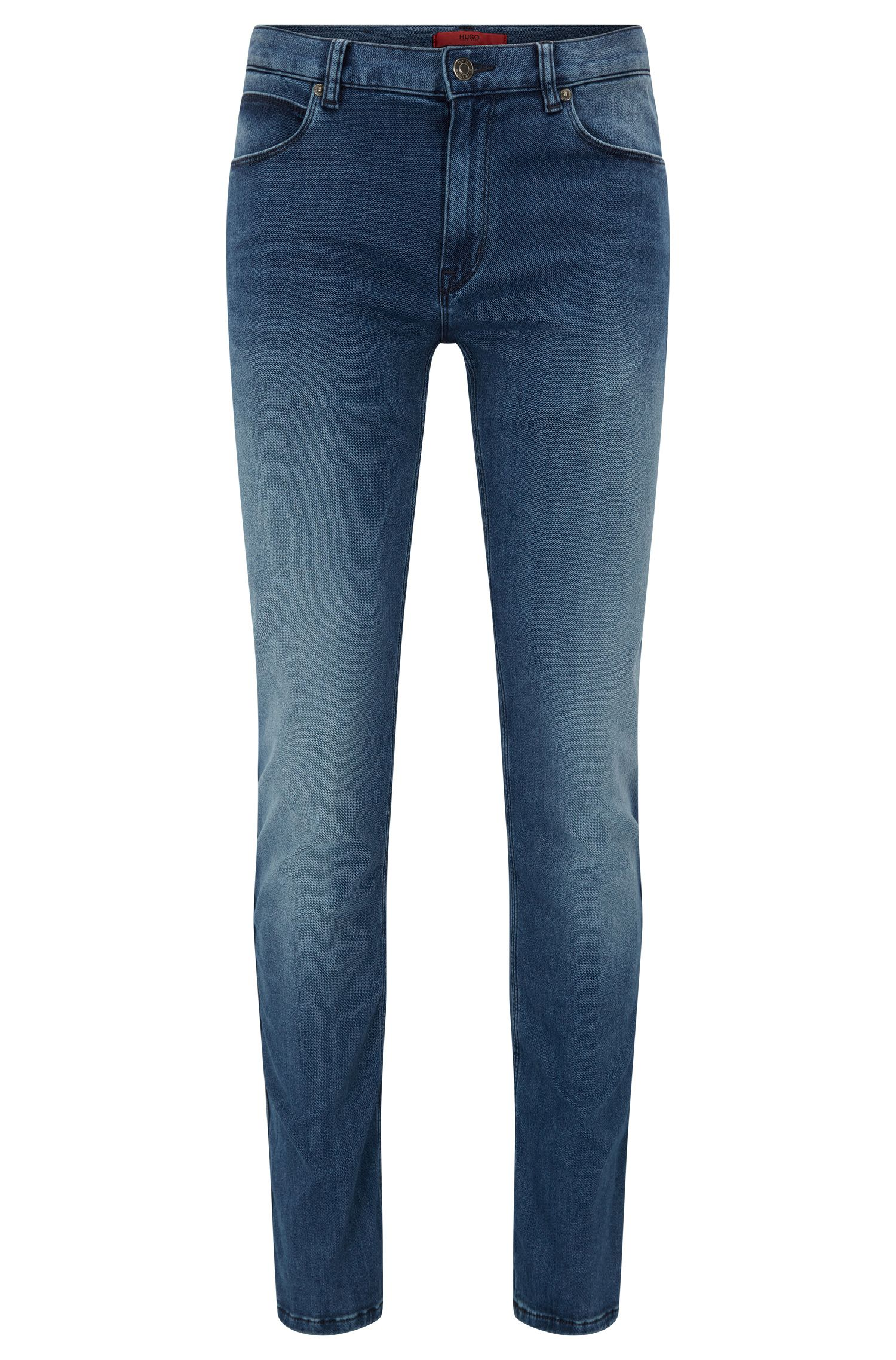 Slim-Fit Stone-washed Jeans aus elastischem Denim