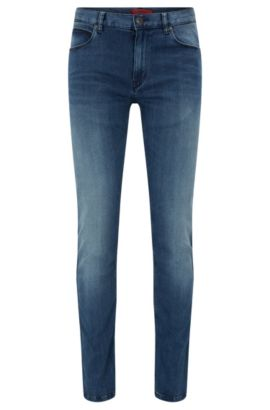 Jeans slim fit con effetto stonewashed in denim super elasticizzato, Blu