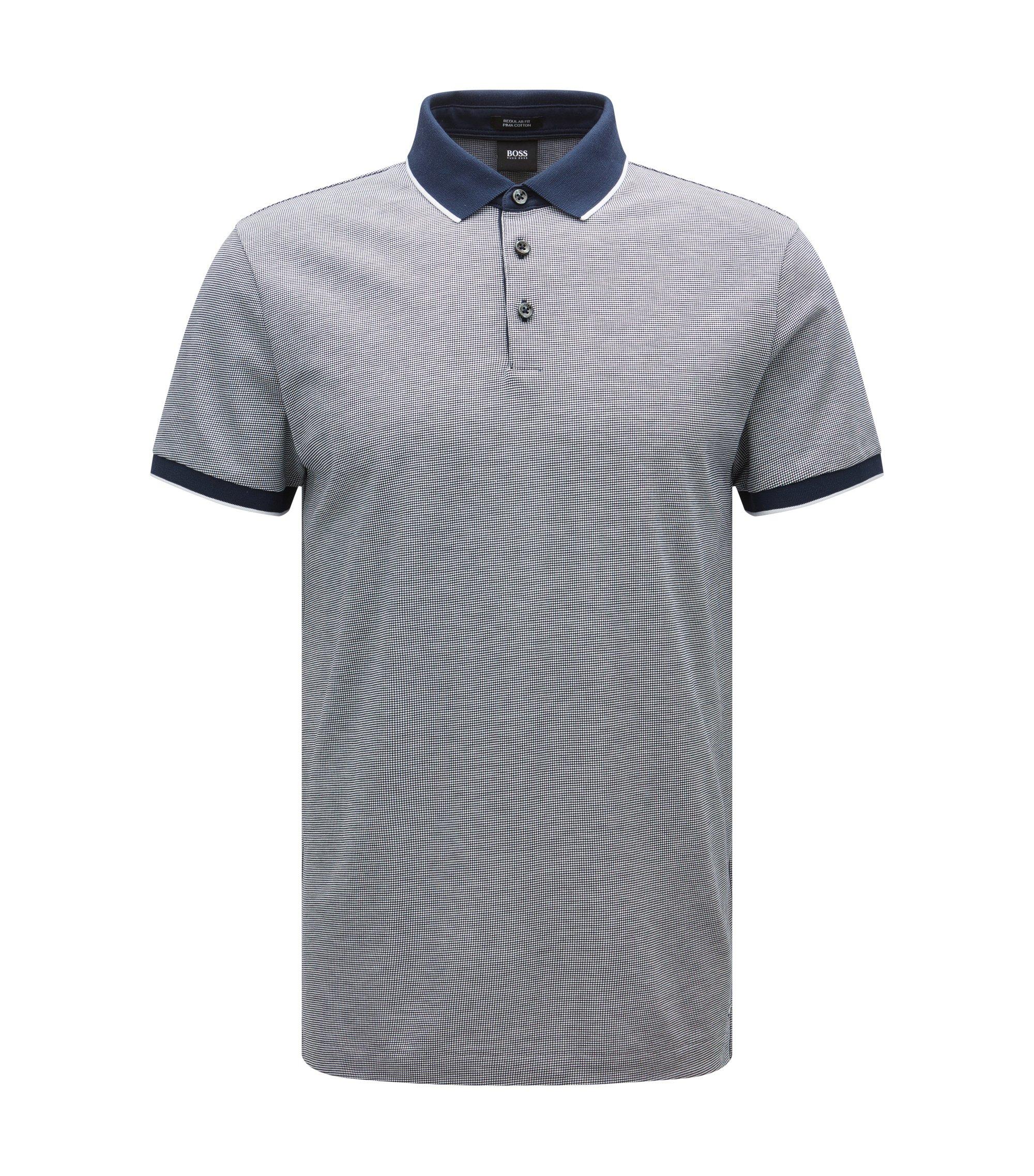 Regular-Fit Poloshirt aus filigran gemustertem Baumwoll-Jacquard, Blau