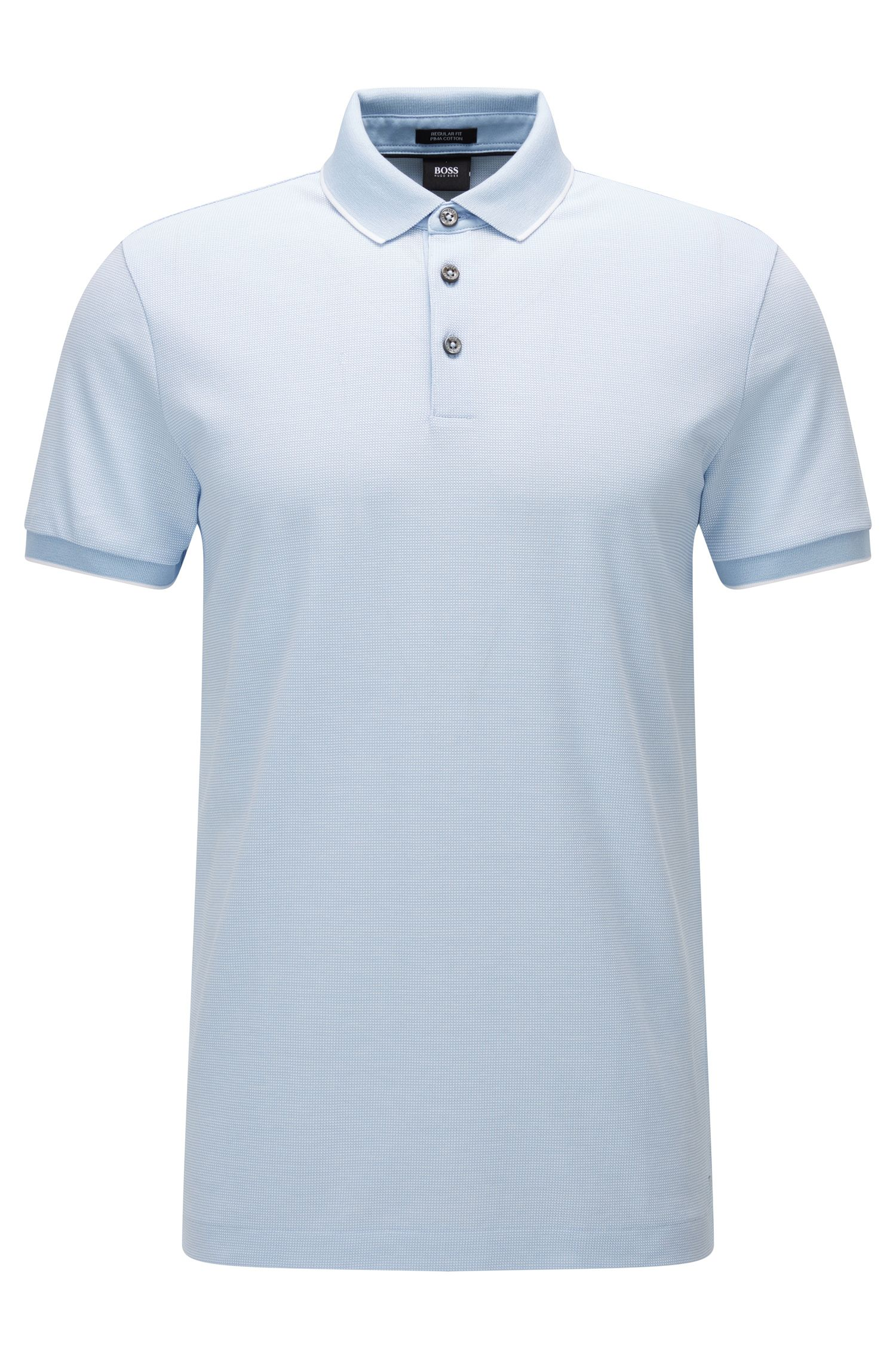 Polo regular fit in cotone jacquard con microstampa