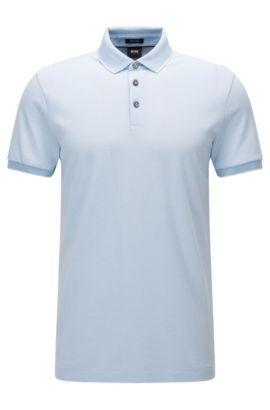 Polo regular fit in cotone jacquard con microstampa, Blu scuro