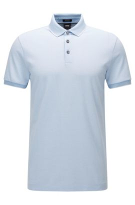 Polo regular fit in cotone jacquard con microstampa, Blu scuro