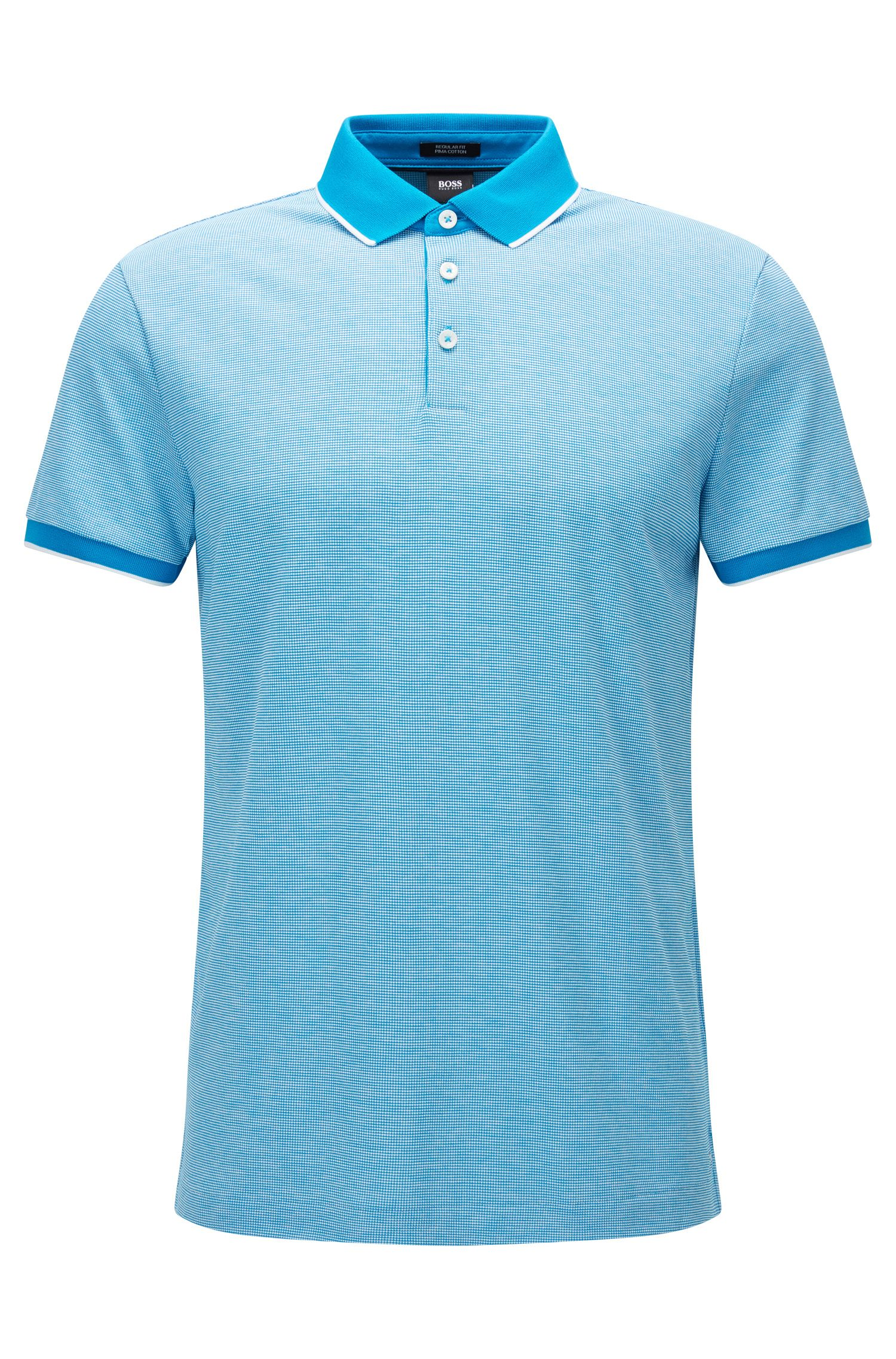 Regular-fit cotton jacquard polo shirt in micro pattern