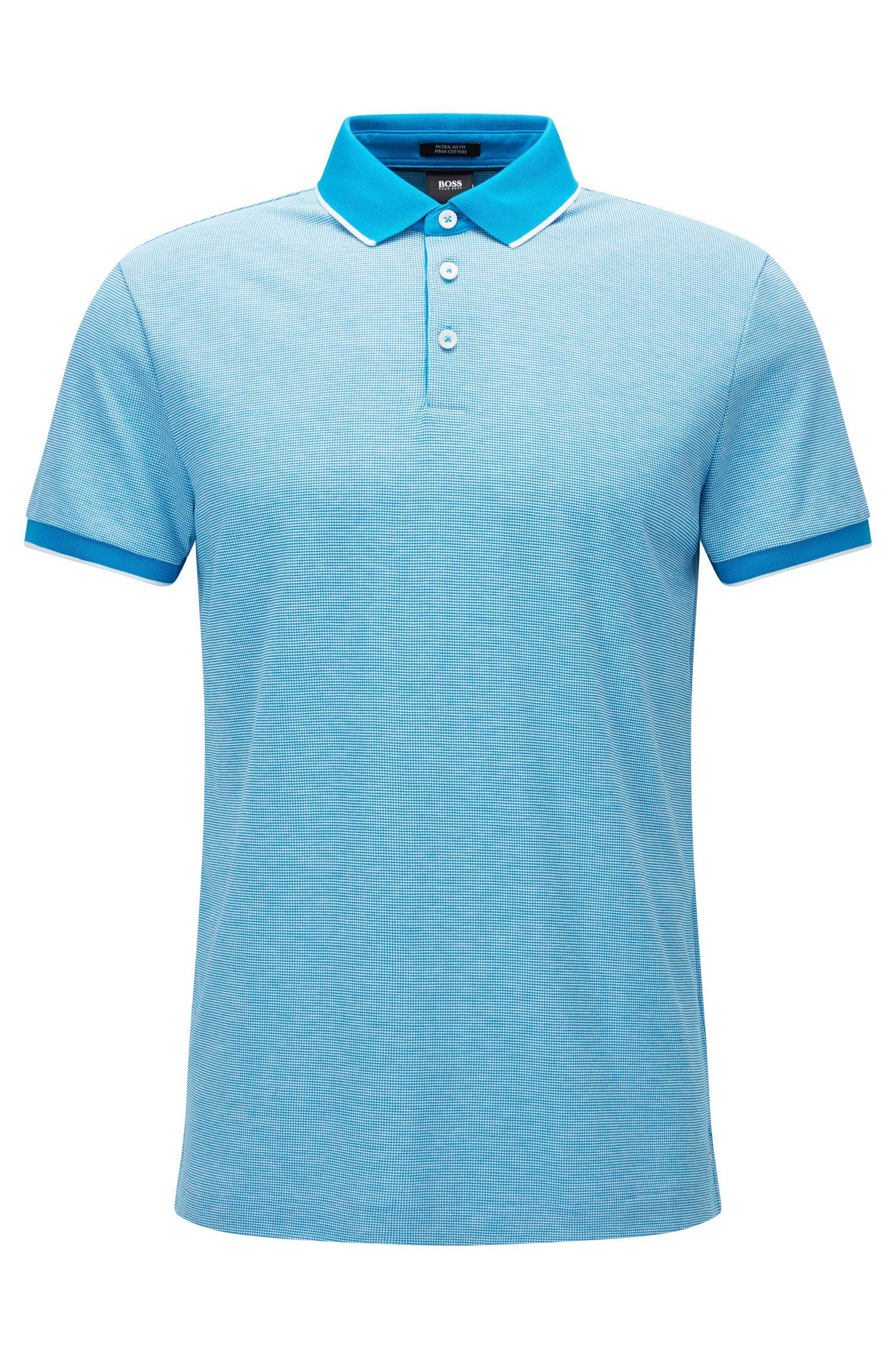 Regular-Fit Poloshirt aus filigran gemustertem Baumwoll-Jacquard