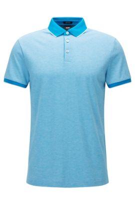 Regular-Fit Poloshirt aus filigran gemustertem Baumwoll-Jacquard, Hellblau