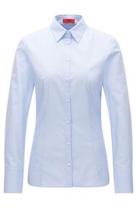 Slim-Fit Hemd aus Baumwolle mit zweifarbiger Webstruktur, Hellblau