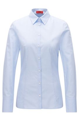 Slim-fit shirt in two-tone dobby cotton, Light Blue