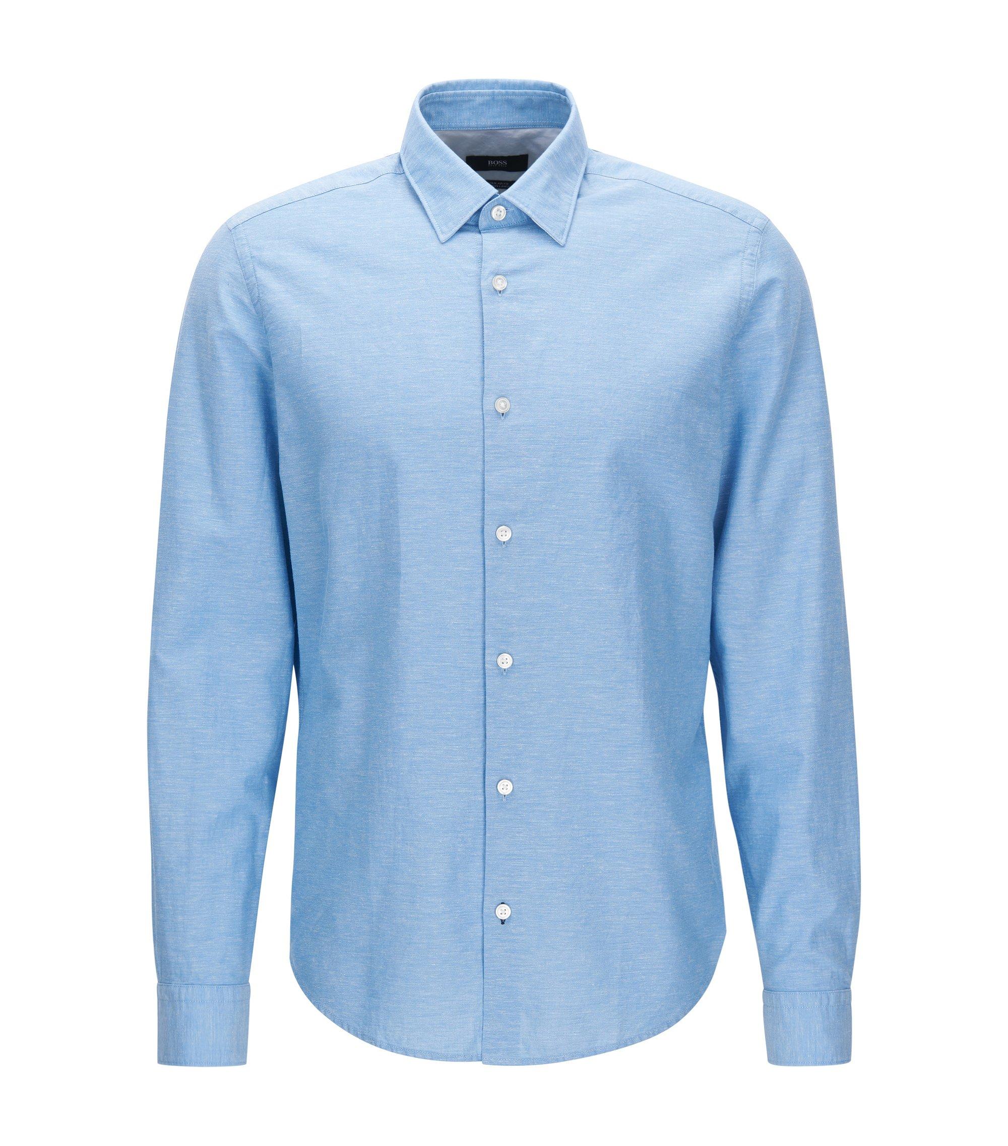 Kort, regular-fit overhemd van katoen met linnen, Donkerblauw