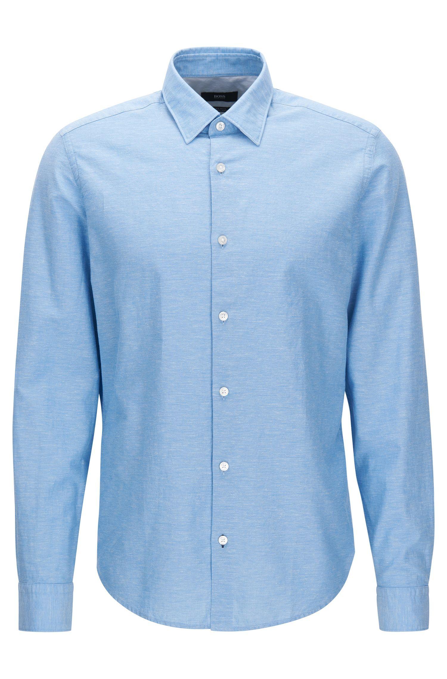Chemise Regular Fit de coupe courte en coton mélangé à du lin
