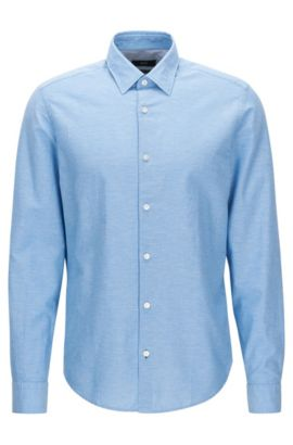 Regular-fit short-length cotton shirt with linen, Dark Blue