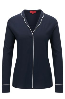Relaxed-fit blouse in een pyjamamodel, Donkerblauw
