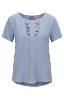 Relaxed-fit T-shirt with silk detail, Light Blue