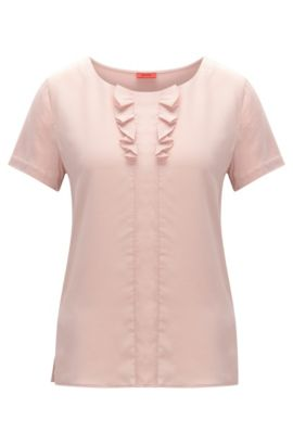 Relaxed-fit T-shirt with silk detail, light pink