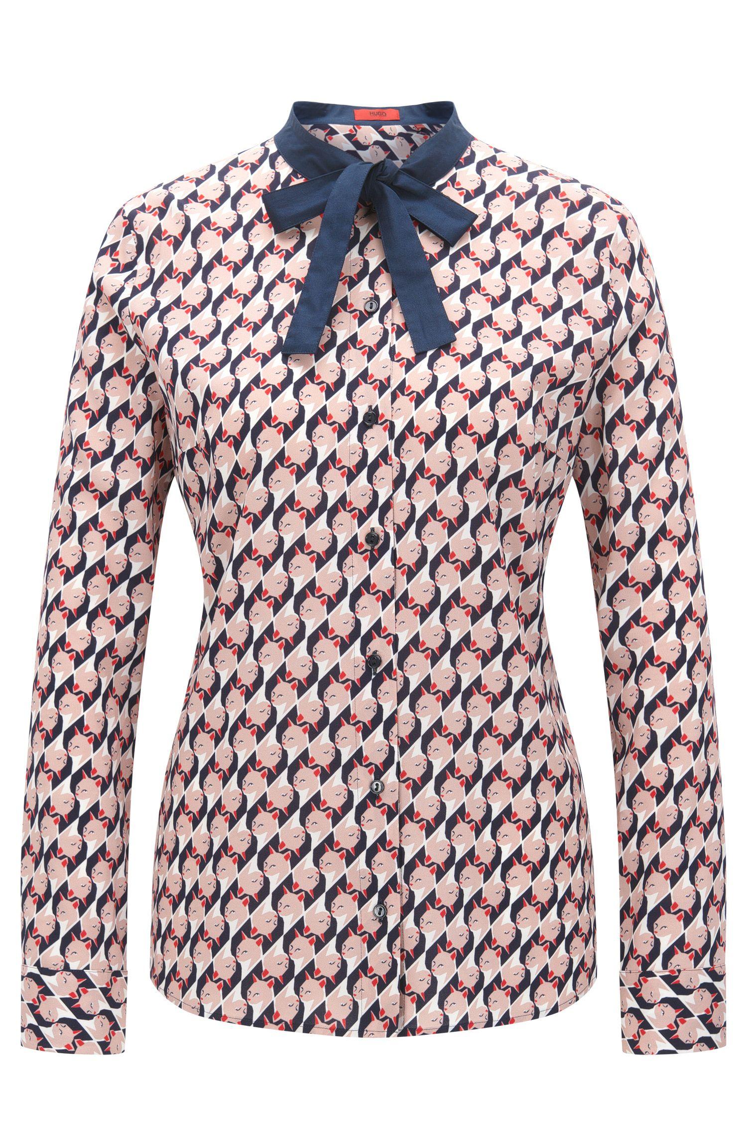 Relaxed-fit blouse met een print van een kussende kat