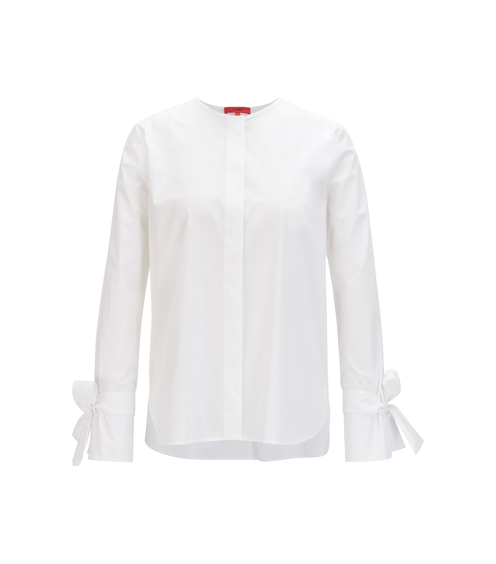 Regular-fit blouse van stretchkatoen met mouwen met lusdetail, Wit
