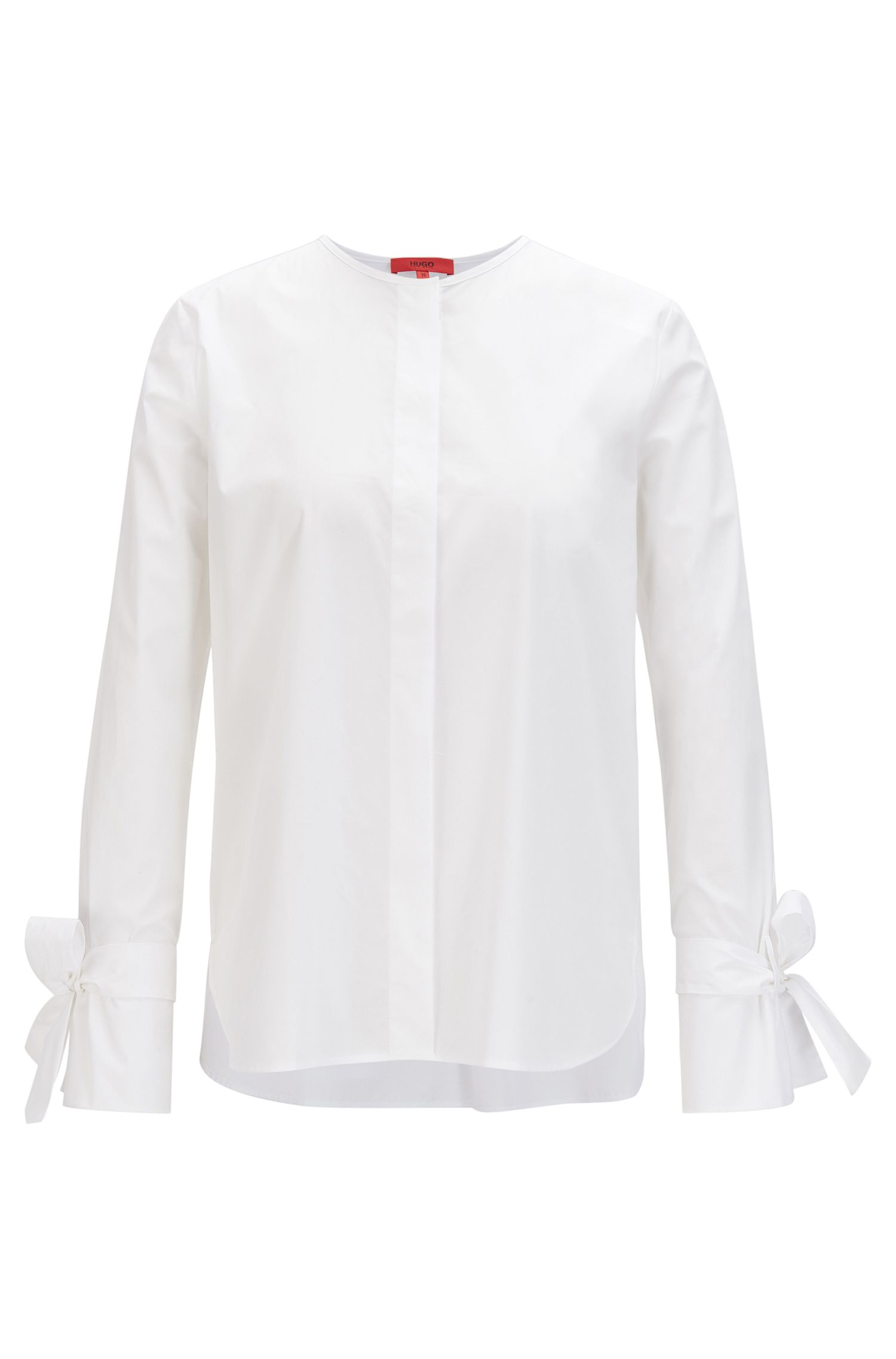 Regular-fit stretch-cotton blouse with ribbon-detail sleeves, White