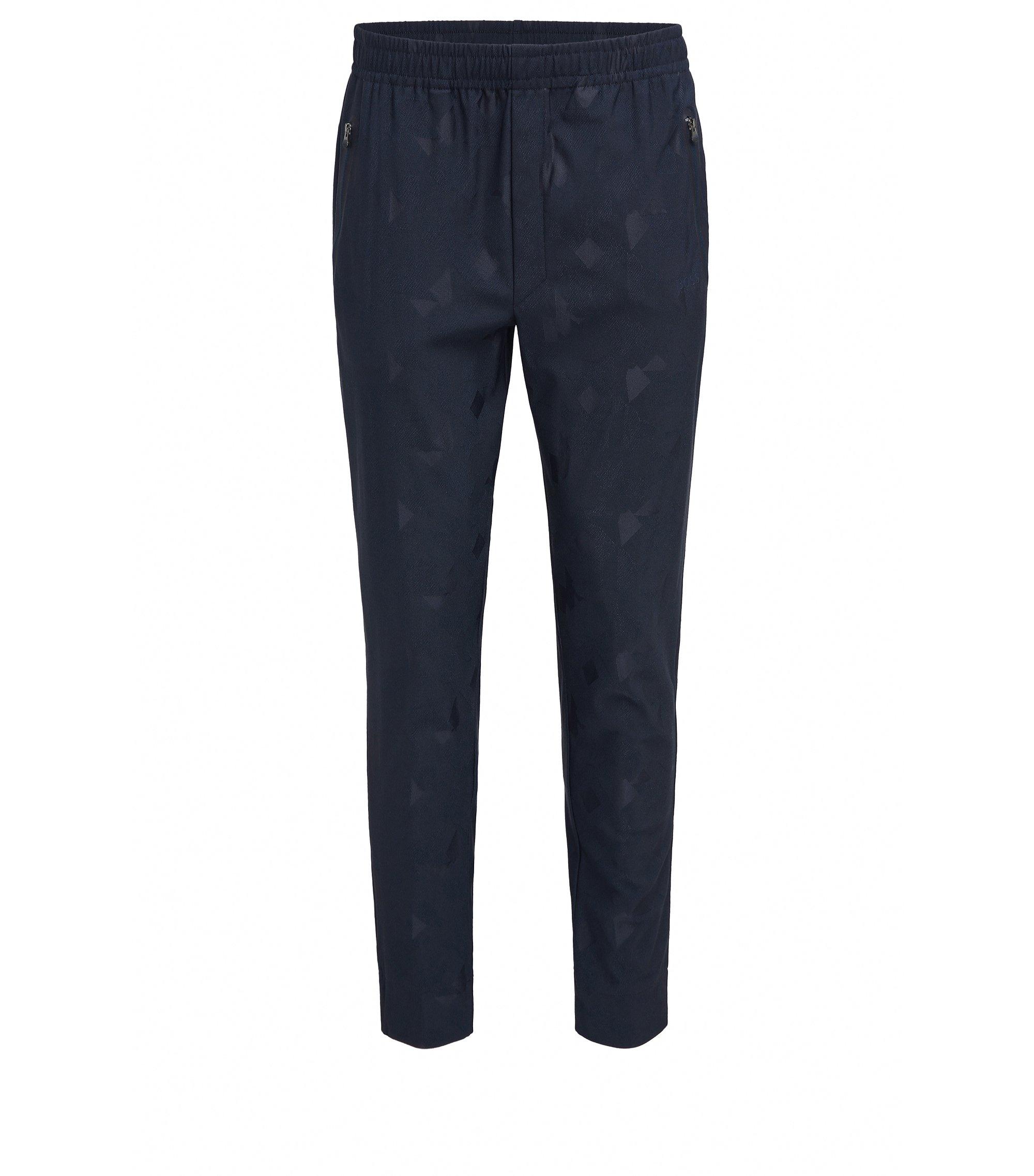 Slim-fit broek in technisch jacquard, Donkerblauw