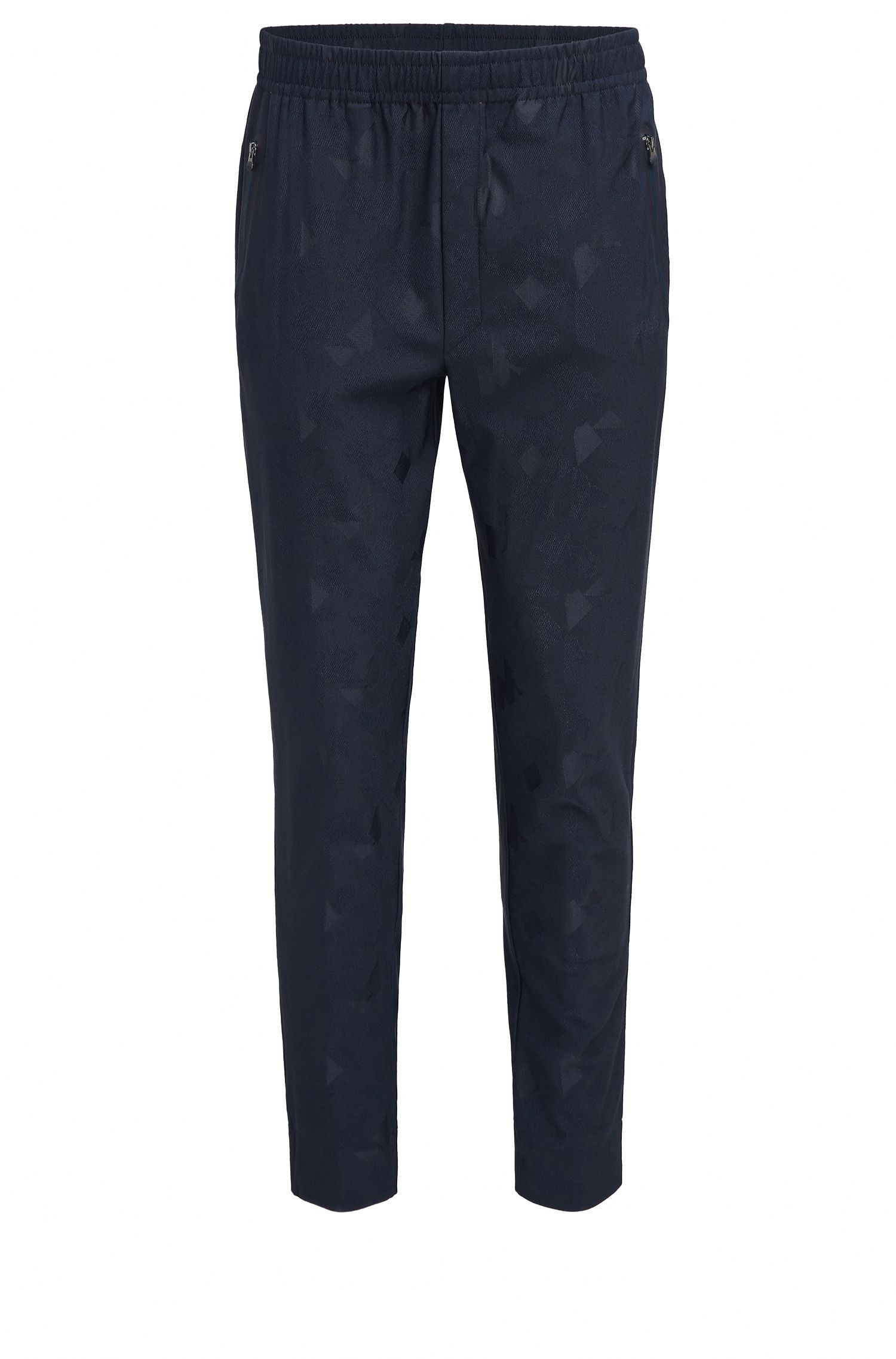 Slim-fit trousers in technical jacquard