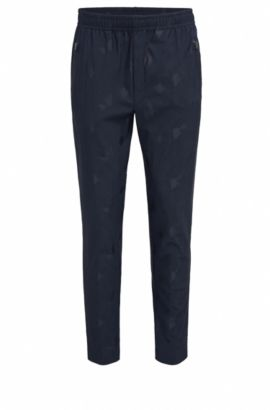 Slim-fit trousers in technical jacquard, Dark Blue