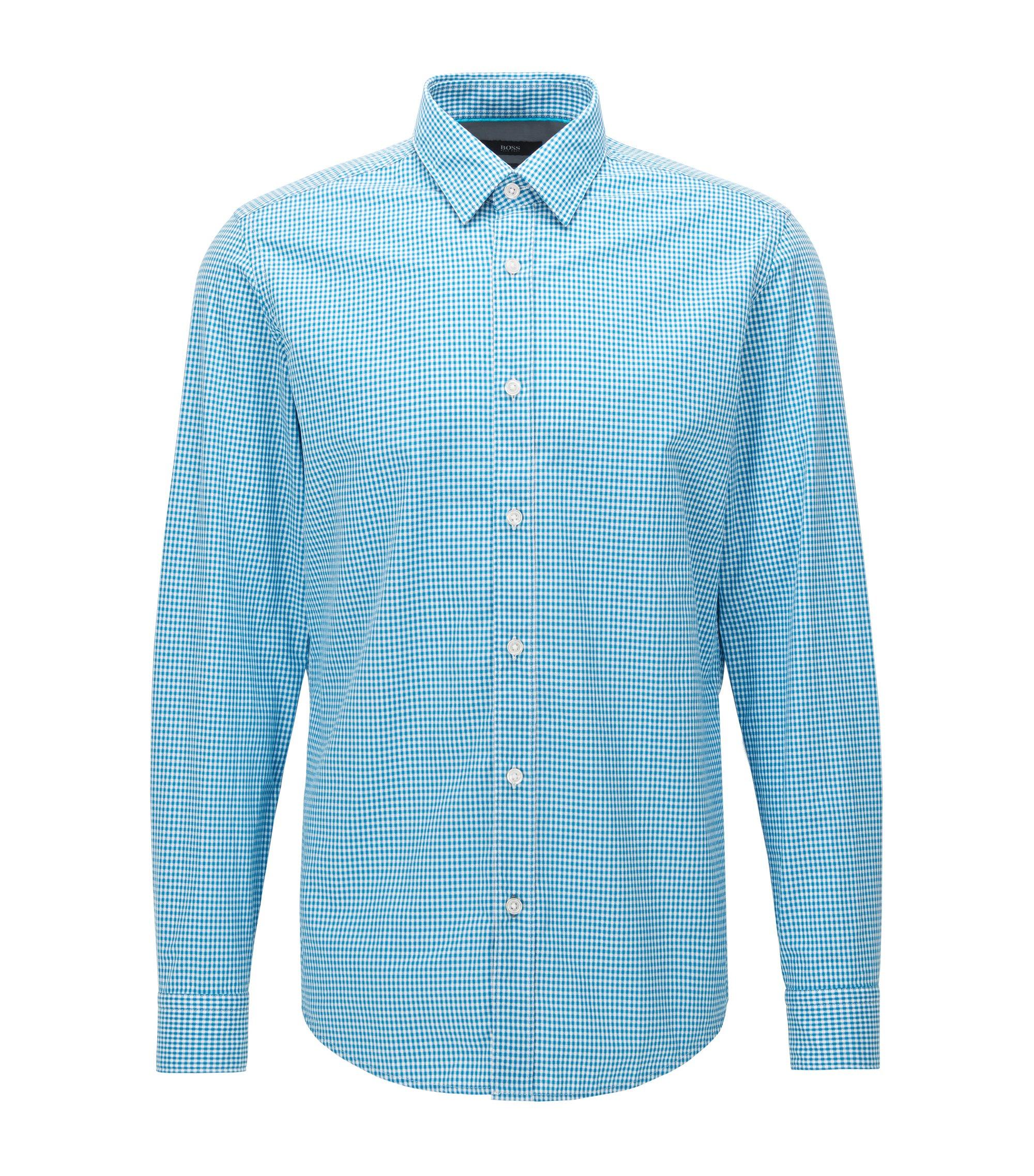 Chemise en coton Regular Fit à micro-carreaux, Bleu vif