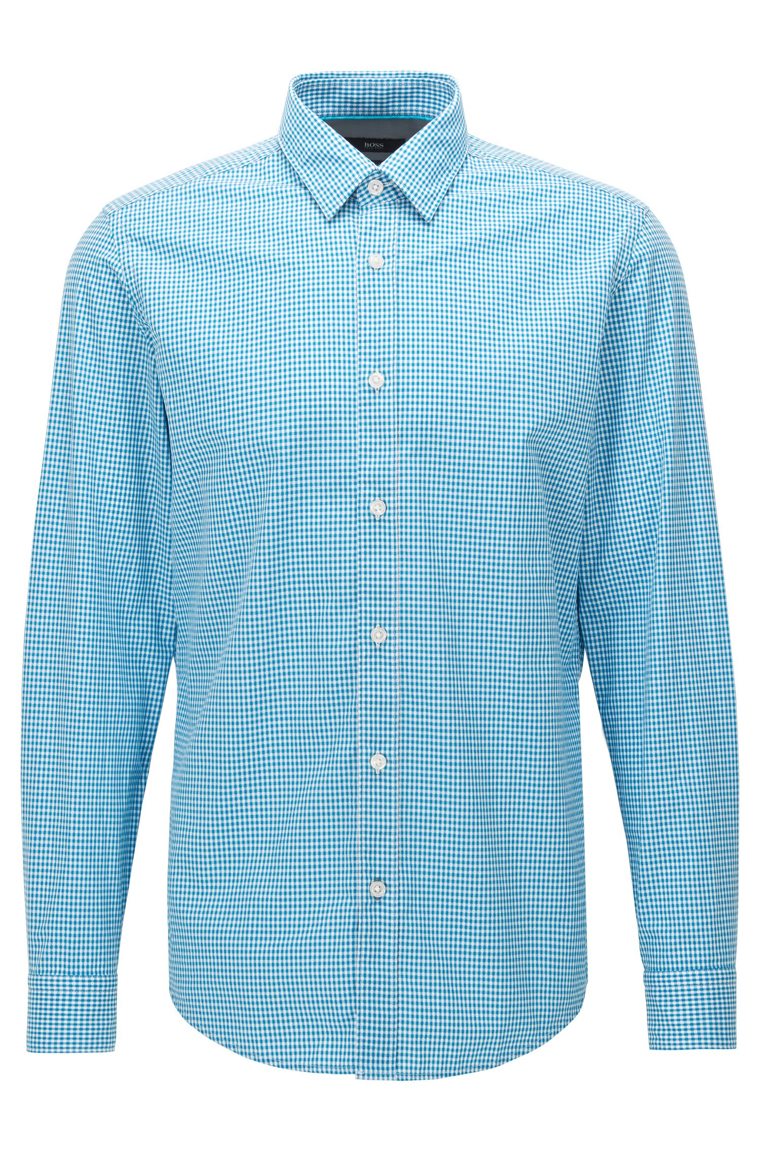 Regular-fit cotton shirt in a micro check