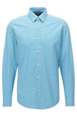 Camicia regular fit in cotone a quadretti, Celeste