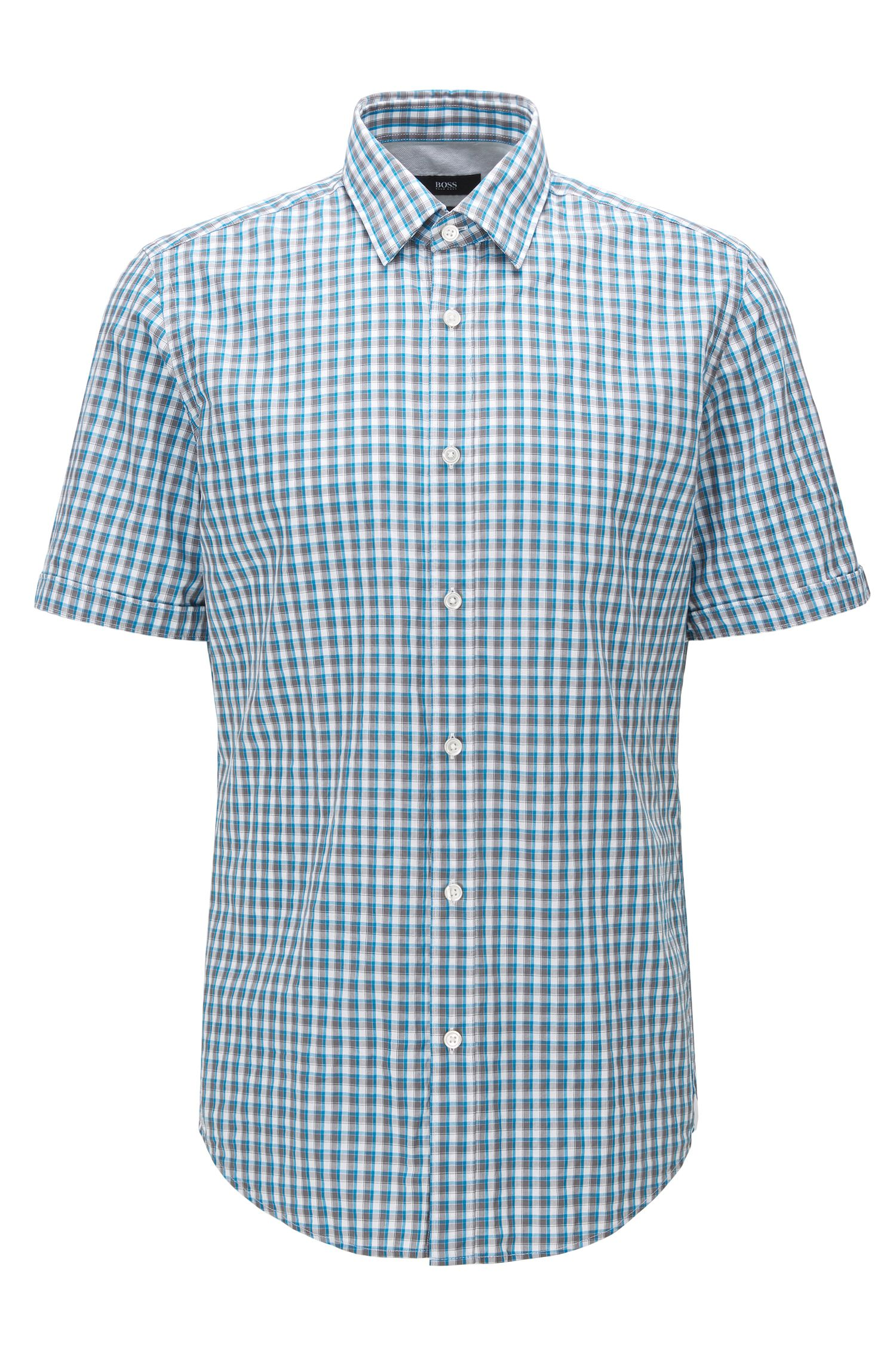 Regular-fit short-sleeved cotton shirt in a Vichy check
