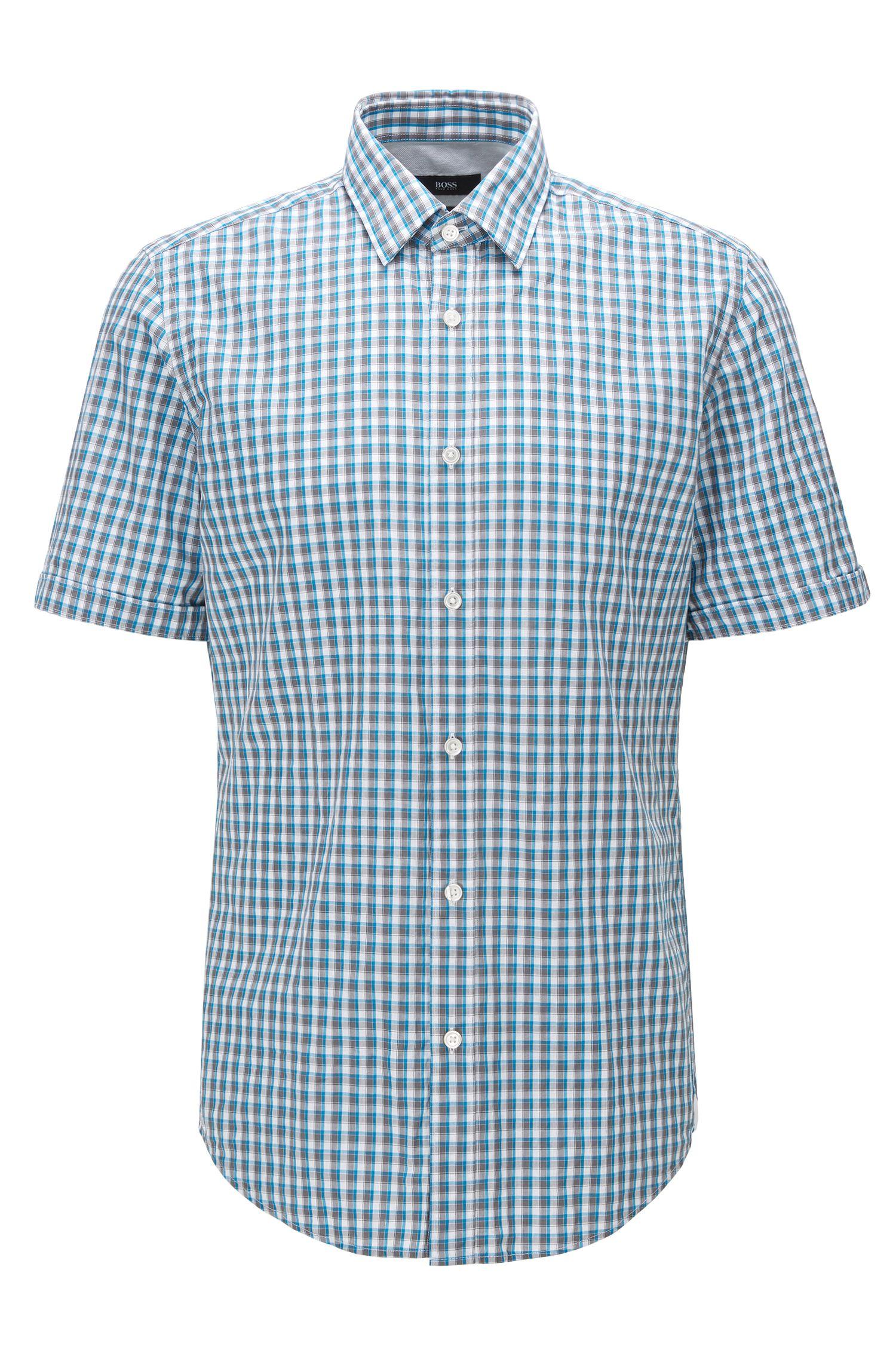 Camisa regular fit de manga corta en algodón con estampado a cuadros Vichy
