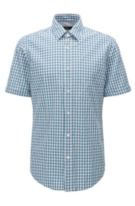 Regular-fit short-sleeved cotton shirt in a Vichy check, Turquoise