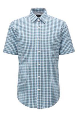 Camisa regular fit de manga corta en algodón con estampado a cuadros Vichy, Gris claro